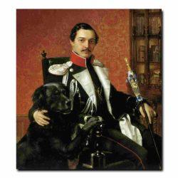 10m_Пимен Орлов Портрет Карла фон Кубе с собакой