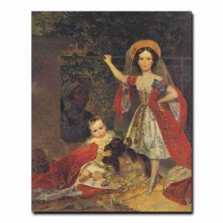 85ch_Карл Брюлов Портрет детей Волконских с арапом