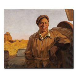 94m_VALENTIN BOGDANOV (Russian, 1919-1985). Man in Landscape, 1957