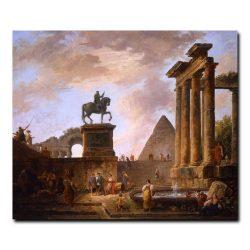 Каприччо с трубадурами и прачками у фонтана Юбер Робер (Hubert Robert)