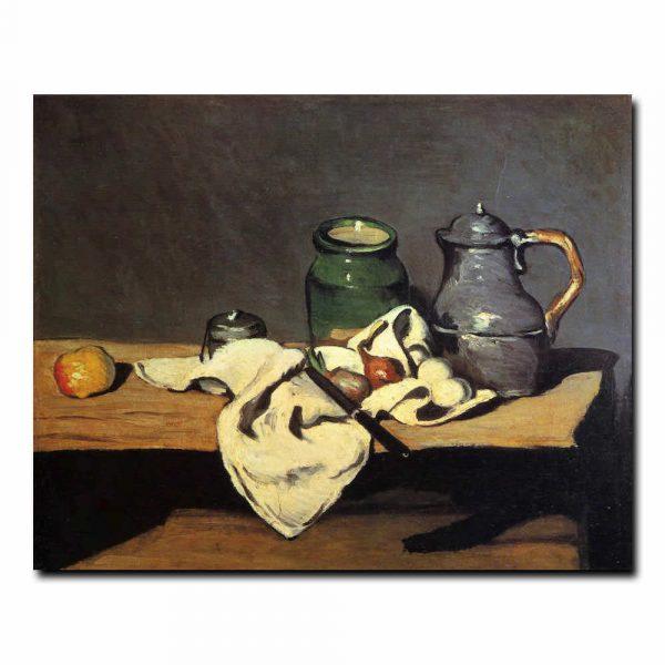 Натюрморт с зелёным горшком и оловянным кувшином. Сезанн Поль (Paul Cezanne)