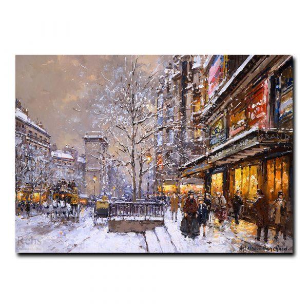 Большие бульвары и ворота Сен-Дени зимой. Антуан Бланшар (Antoine Blanchard)