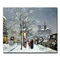 Букинистический рынок, Нотр-Дам, зима. Антуан Бланшар (Antoine Blanchard)