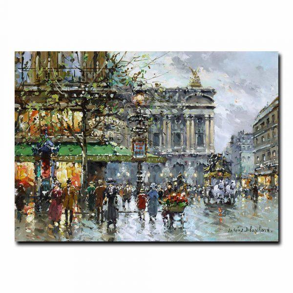 Вид на парижскую оперу и кафе Де ла Пэ. Антуан Бланшар (Antoine Blanchard)