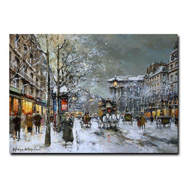Бульвар Мадлен зимой. Антуан Бланшар (Antoine Blanchard)