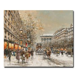 Бульвар Маделейн под снегом. Антуан Бланшар (Antoine Blanchard)