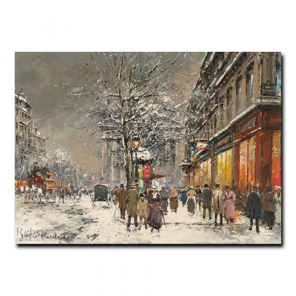 Улица Маделейн под снегом. Антуан Бланшар (Antoine Blanchard)