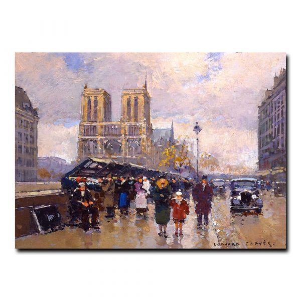 Площадь Мишель и Собор Парижской Богоматери. Эдуард Леон Кортес (Edouard Leon Cortes)