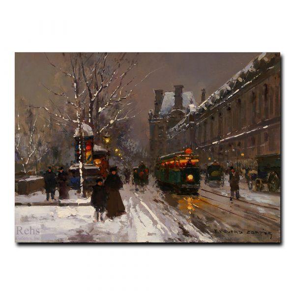 Перрон дю Жалюзей зимой (Du Louvre in winter). Эдуард Леон Кортес (Edouard Leon Cortes)