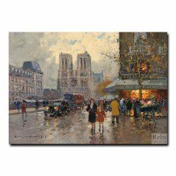 Площадь Мишель и Нотр-Дам-де-Пари (Собор Парижской Богоматери). Эдуард Леон Кортес (Edouard Leon Cortes)