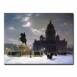 Вид памятника Петру I на Сенатской площади в Петербурге. Суриков Василий Иванович