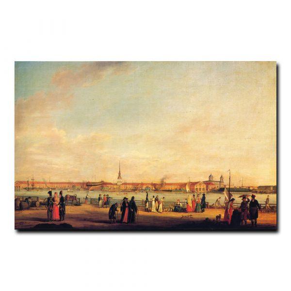 Вид на Адмиралтейство с Университетской набережной. Иоганн-Георг Майр