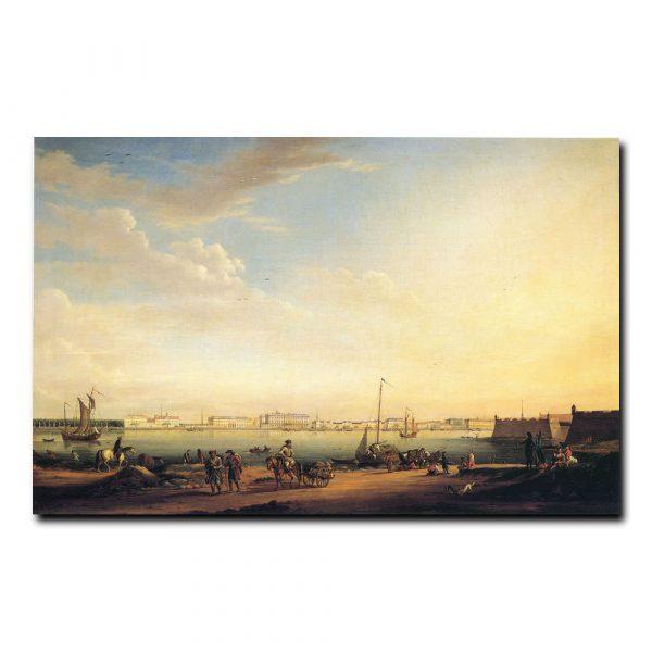 Вид на Дворцовую набережную и Летний сад с Петербургской стороны. Иоганн-Георг Майр